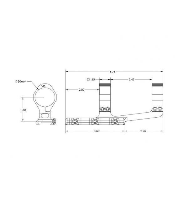 Montaż Aero Precision Ultralight 30mm Scope Mount, SPR - Anodized Black